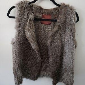 525 America LUXE Brown Gray Rabbit Fur Winter